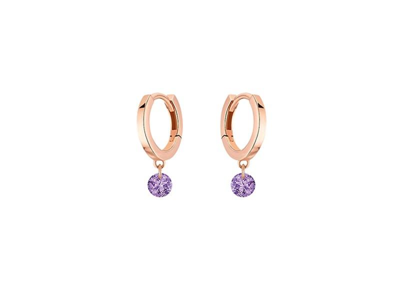 Mini créoles La Brune et La Blonde Confetti en or rose et 2 améthystes 0,20 carat